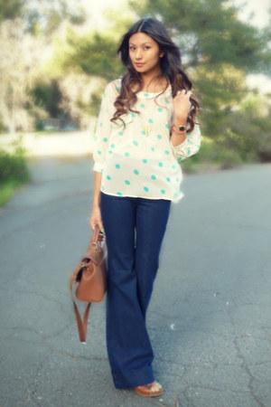 navy J Brand jeans - aquamarine Forever 21 blouse - brown Zara clogs