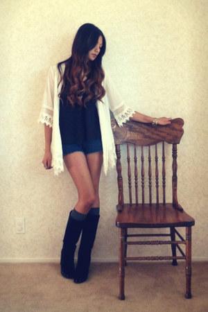 black Steven boots - white Forever21 blouse
