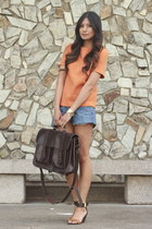 carrot orange asos top - dark brown Grafea bag