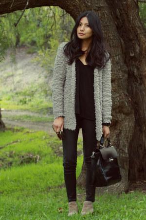 heather gray warehouse cardigan - black Zara pants