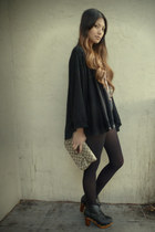 black Forever21 cardigan - dark khaki love21 blouse