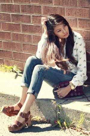 cream Zara blouse - blue Forever 21 jeans - dark brown ecote sandals