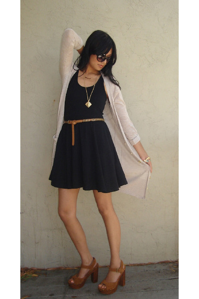 black f21 dress - beige H&amp;M cardigan - brown Jeffrey Campbell shoes - brown f21 