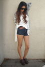 Black-silence-noise-cardigan-blue-siwy-shorts