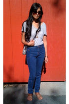 gray t by alexander wang top - blue bdg uo jeans - brown Urban Outfitters shoes