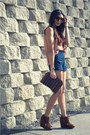 Navy-lucca-couture-shorts-salmon-h-m-blouse-brown-jeffrey-campbell-wedges