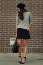 Black-zara-skirt-heather-gray-zara-sweatshirt-black-zara-heels