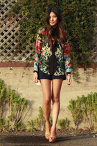 black Zara blouse - navy Zara shorts - tan Dolce Vita wedges
