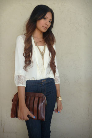 white f21 blouse