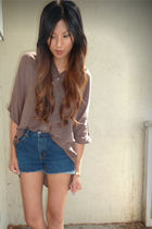 blue Levis shorts - brown Forever21 blouse