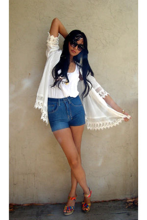 white f21 blouse - white f21 top - blue 18th Amendment shorts - orange Cynthia V