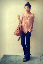 brown asos bag - navy J Brand jeans - salmon H&M blouse - brown Zara clogs