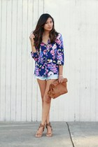 floral print Yumi Kim blouse - studded sandals free people sandals