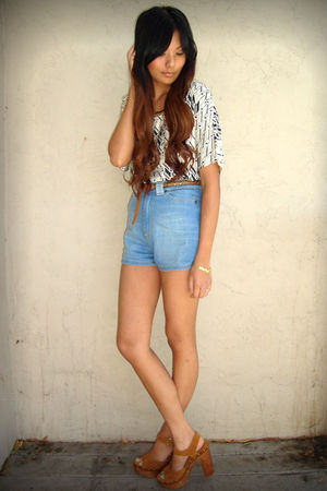 white Kenneth Cole blouse - blue Zara shorts - brown Jeffrey Campbell shoes