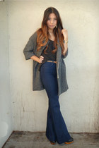 gray Urban Outfitters coat - black Old Navy top - navy J Brand jeans