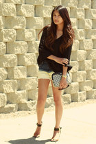 navy H&M shorts - black Zara blouse - silver sabotage vanessa mooney ring