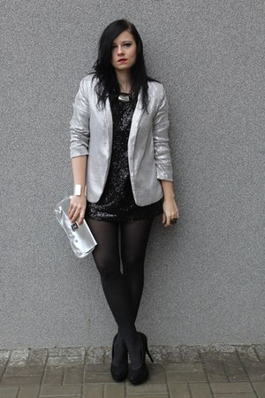 silver Secondhand blazer - black KappAhl dress