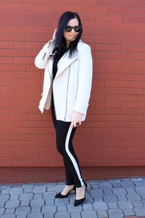 white Zara coat - white F&F blazer - black Zara heels - black c&a pants