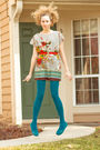 Gray-forever-21-dress-blue-express-tights-blue-bc-shoes