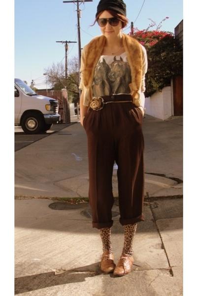 beige vintage sweater - brown vintage shirt - brown vintage from Goodwill pants