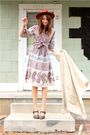 Beige-vintage-dress-white-thrift-sweater-brown-frye-shoes