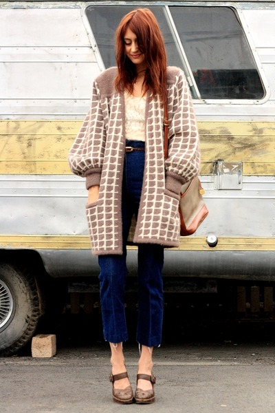 brown thrifted sweater - blue thrifted jeans - brown Frye shoes