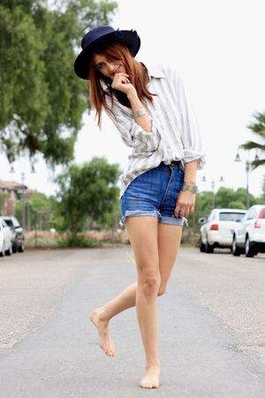 blue acne shorts - beige thrift blouse
