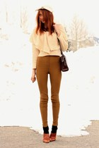 cream Topin sweater - bronze American Apparel pants - dark brown vintage bag