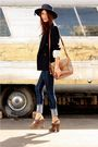 Blue-thirfted-coat-blue-cheap-monday-jeans-brown-frye-shoes