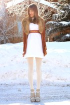 white vintage dress - brick red vintage jacket - white Michael Kors heels