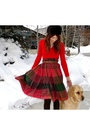 Red-vintage-skirt-vintage-sweater-fur-hate-hat