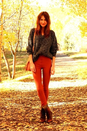 tawny vintage pants - dark brown Steve Madden boots - black thrifted sweater