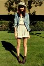Blue-levi-jacket-beige-goodwill-shorts