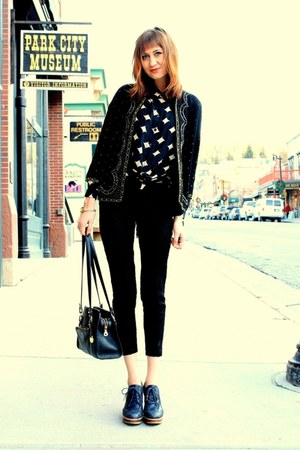 black vintage sweater - black vintage blouse - black vintage pants