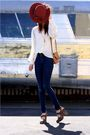 Beige-vintage-top-blue-cheap-monday-jeans-brown-frye-shoes-orange-vintage-