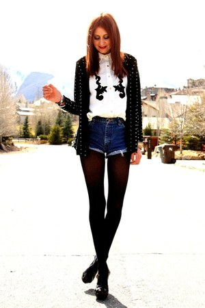 black sweater - navy vintage Wrangler shorts - white blouse