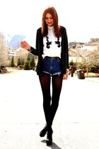 white blouse - black sweater - navy vintage Wrangler shorts