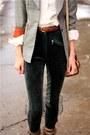 Brown-steve-madden-boots-silver-vintage-blazer-green-vintage-pants