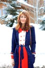 Red-st-johns-knit-dress-navy-vintage-coat