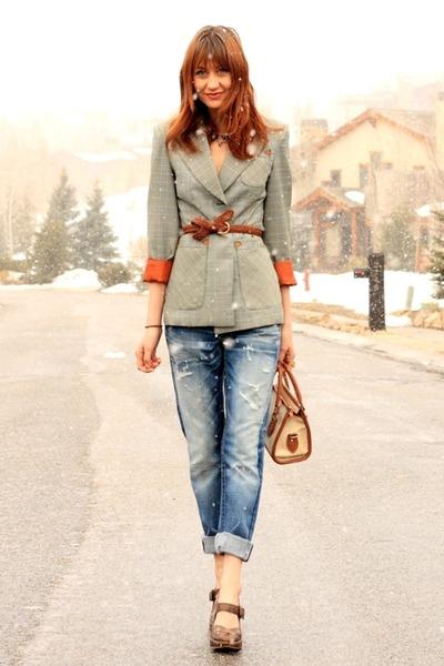 blue True Religion jeans - dark green vintage jacket - dark brown Frye heels