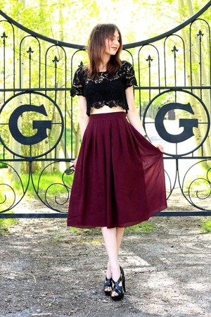 black Forever 21 top - magenta vintage skirt - black Steve Madden heels