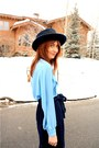Blue-levis-jacket-sky-blue-thrifted-blouse-navy-crystallized-vintage-skirt