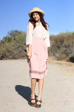 beige vintage top - pink vintage skirt