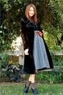 Dark-brown-vintage-coat-gray-thrifted-skirt-black-splendid-cardigan-navy-t