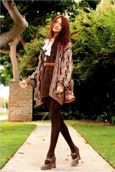 brown thrift dress - brown Frye shoes - brown thrift sweater