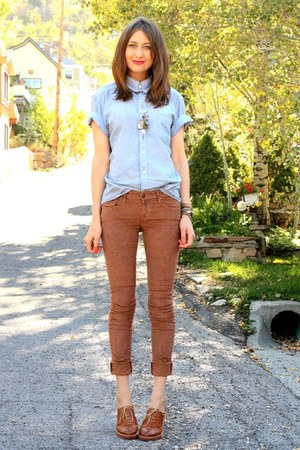brown Raven Denim pants - sky blue vintage top - brown BP loafers