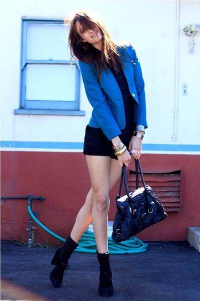 blue etsy vintage jacket - black Jeffrey Campbell shoes