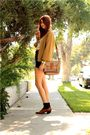 Beige-thrifted-sweater-black-levis-shorts-brown-wwwsleepwalkerlacom-shoes