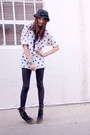 White-thirft-shirt-black-nordstrom-tights-black-vintage-hat-black-marc-jac