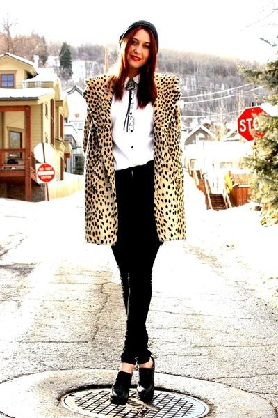 Bolo tie - black high waisted jeans - leopard vintage jacket - Aldo heels